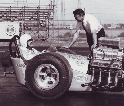 Mickey Thompson and Wally Parks together at Lions Drag Strip (circa 1960s)